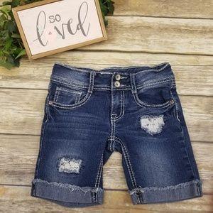 Vanilla Star Jeans Lace Distressed Denim Shorts 7